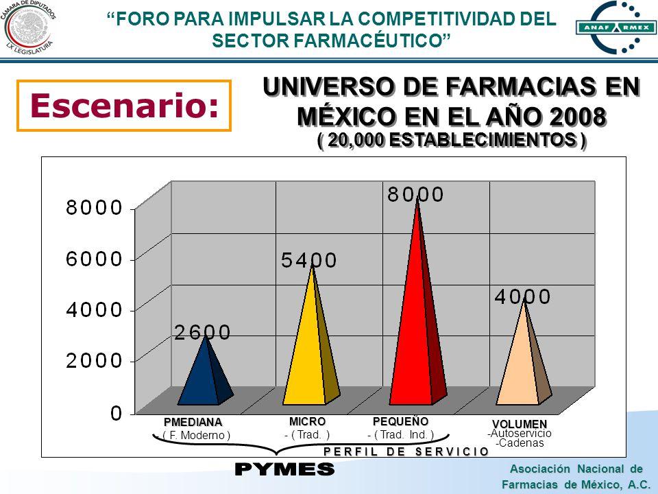 Asociación Nacional de Farmacias de México, A.C. Escenario: UNIVERSO DE FARMACIAS EN MÉXICO EN EL AÑO 2008 ( 20,000 ESTABLECIMIENTOS ) VOLUMEN -Autose