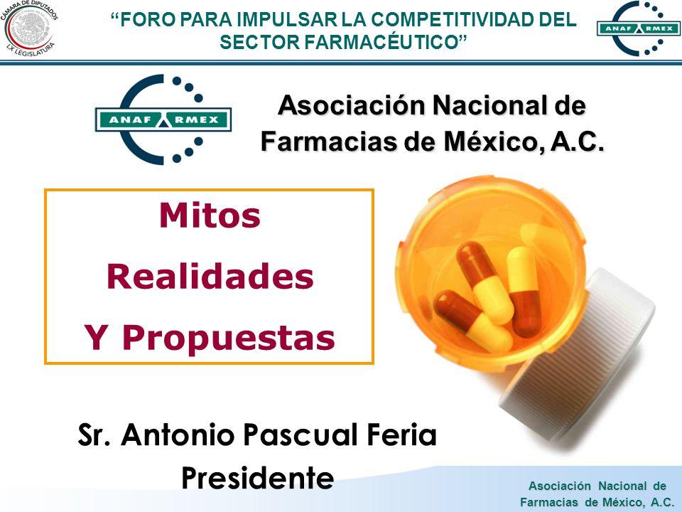 Asociación Nacional de Farmacias de México, A.C. Mitos Realidades Y Propuestas Sr. Antonio Pascual Feria Presidente Asociación Nacional de Farmacias d