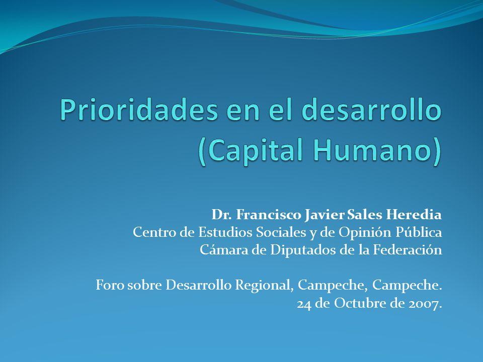 Dr. Francisco Javier Sales Heredia Centro de Estudios Sociales y de Opinión Pública Cámara de Diputados de la Federación Foro sobre Desarrollo Regiona