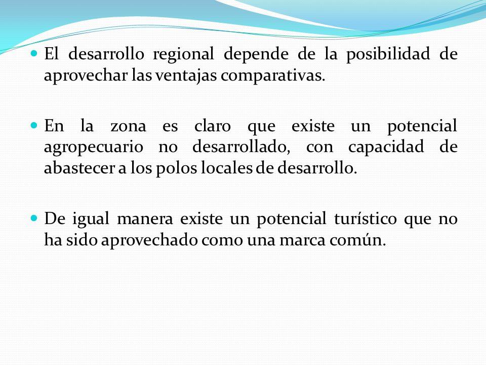 El desarrollo regional depende de la posibilidad de aprovechar las ventajas comparativas. En la zona es claro que existe un potencial agropecuario no