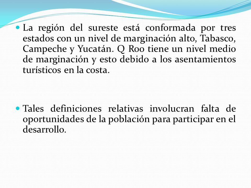La región del sureste está conformada por tres estados con un nivel de marginación alto, Tabasco, Campeche y Yucatán. Q Roo tiene un nivel medio de ma