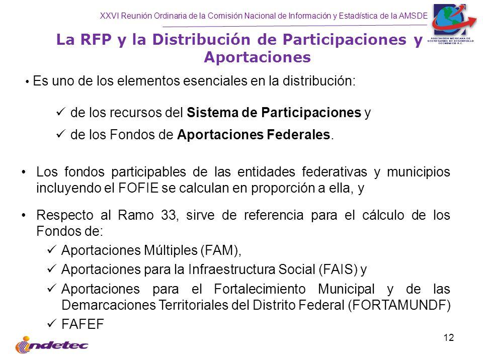 XXVI Reunión Ordinaria de la Comisión Nacional de Información y Estadística de la AMSDE 12 La RFP y la Distribución de Participaciones y Aportaciones Los fondos participables de las entidades federativas y municipios incluyendo el FOFIE se calculan en proporción a ella, y Respecto al Ramo 33, sirve de referencia para el cálculo de los Fondos de: Aportaciones Múltiples (FAM), Aportaciones para la Infraestructura Social (FAIS) y Aportaciones para el Fortalecimiento Municipal y de las Demarcaciones Territoriales del Distrito Federal (FORTAMUNDF) FAFEF Es uno de los elementos esenciales en la distribución: de los recursos del Sistema de Participaciones y de los Fondos de Aportaciones Federales.