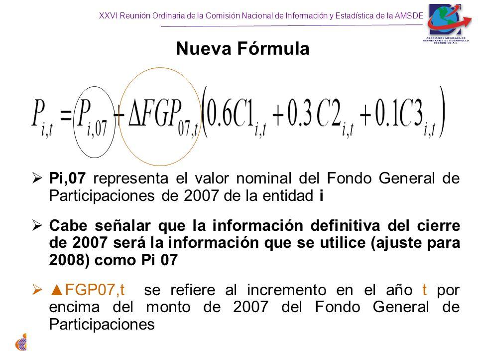XXVI Reunión Ordinaria de la Comisión Nacional de Información y Estadística de la AMSDE Nueva Fórmula Pi,07 representa el valor nominal del Fondo General de Participaciones de 2007 de la entidad i Cabe señalar que la información definitiva del cierre de 2007 será la información que se utilice (ajuste para 2008) como Pi 07 FGP07,t se refiere al incremento en el año t por encima del monto de 2007 del Fondo General de Participaciones