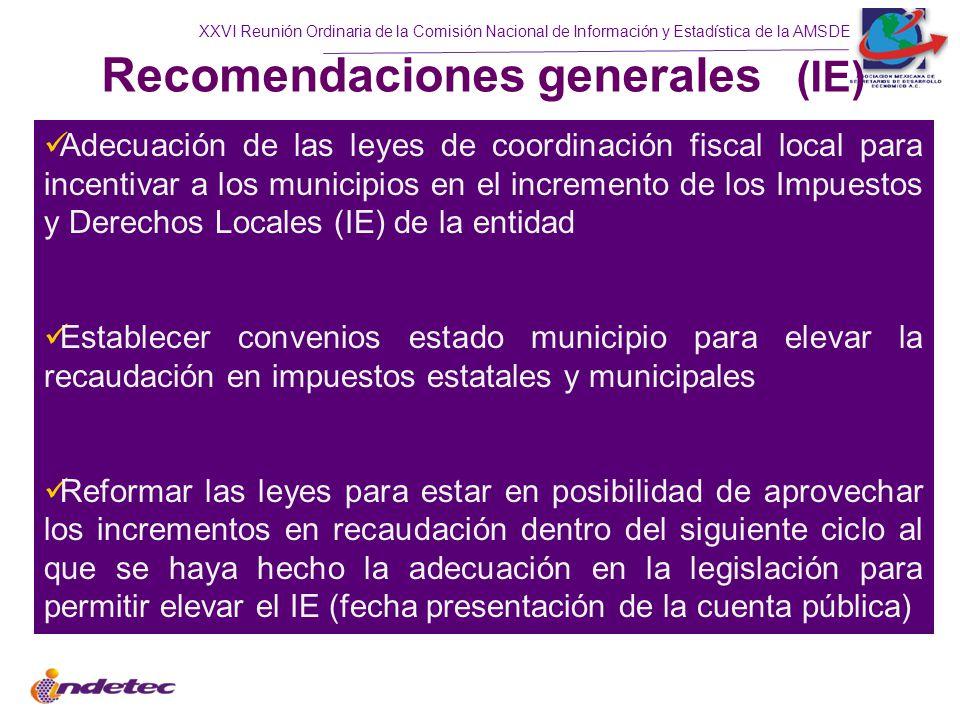 XXVI Reunión Ordinaria de la Comisión Nacional de Información y Estadística de la AMSDE Recomendaciones generales (IE) Adecuación de las leyes de coordinación fiscal local para incentivar a los municipios en el incremento de los Impuestos y Derechos Locales (IE) de la entidad Establecer convenios estado municipio para elevar la recaudación en impuestos estatales y municipales Reformar las leyes para estar en posibilidad de aprovechar los incrementos en recaudación dentro del siguiente ciclo al que se haya hecho la adecuación en la legislación para permitir elevar el IE (fecha presentación de la cuenta pública)