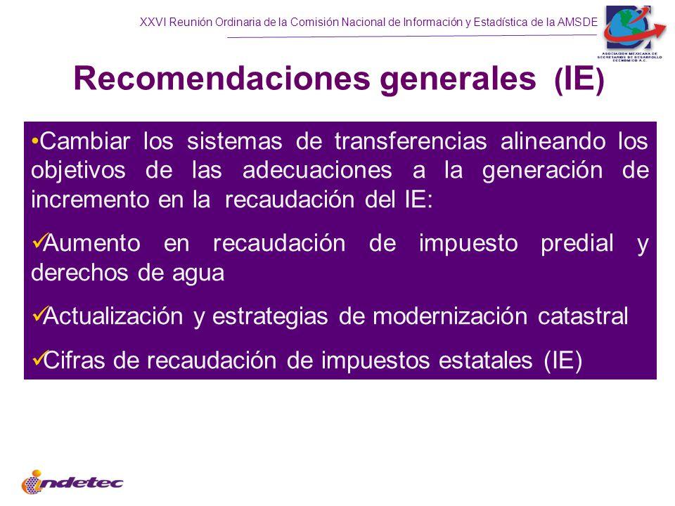 XXVI Reunión Ordinaria de la Comisión Nacional de Información y Estadística de la AMSDE Recomendaciones generales ( IE ) Cambiar los sistemas de transferencias alineando los objetivos de las adecuaciones a la generación de incremento en la recaudación del IE: Aumento en recaudación de impuesto predial y derechos de agua Actualización y estrategias de modernización catastral Cifras de recaudación de impuestos estatales (IE)