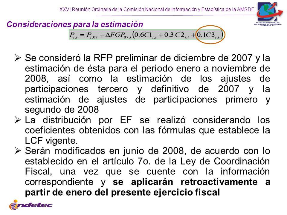 XXVI Reunión Ordinaria de la Comisión Nacional de Información y Estadística de la AMSDE Se consideró la RFP preliminar de diciembre de 2007 y la estimación de ésta para el periodo enero a noviembre de 2008, así como la estimación de los ajustes de participaciones tercero y definitivo de 2007 y la estimación de ajustes de participaciones primero y segundo de 2008 La distribución por EF se realizó considerando los coeficientes obtenidos con las fórmulas que establece la LCF vigente.