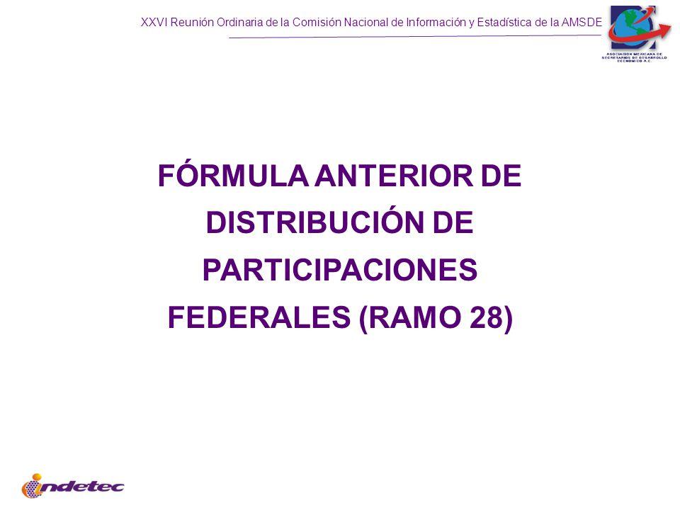 XXVI Reunión Ordinaria de la Comisión Nacional de Información y Estadística de la AMSDE 1.Cifras virtuales de la entidad (30%) 2.Valor de mercancía embargada (10%) 3.Incremento en recaudación de Repecos (25%) 4.Incremento en recaudación de intermedios (25%) 5.Nivel de recaudación Repecos (5%) 6.Nivel de recaudación de intermedios (5%) Coordinación en Derechos, y Reserva de Contingencia Las Reglas de Operación y Distribución de este Fondo se elevan a rango de Ley, y las variables con las cuales se distribuye el fondo son: 1.25% RFP, Fusión de: Fondo de Fiscalización 20% a los Municipios