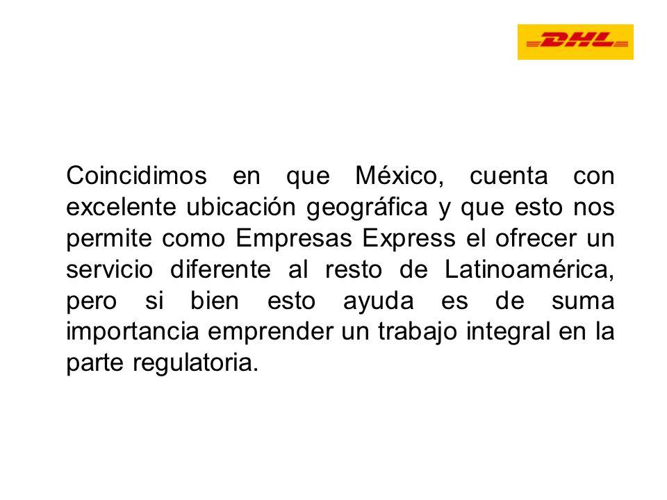 Coincidimos en que México, cuenta con excelente ubicación geográfica y que esto nos permite como Empresas Express el ofrecer un servicio diferente al