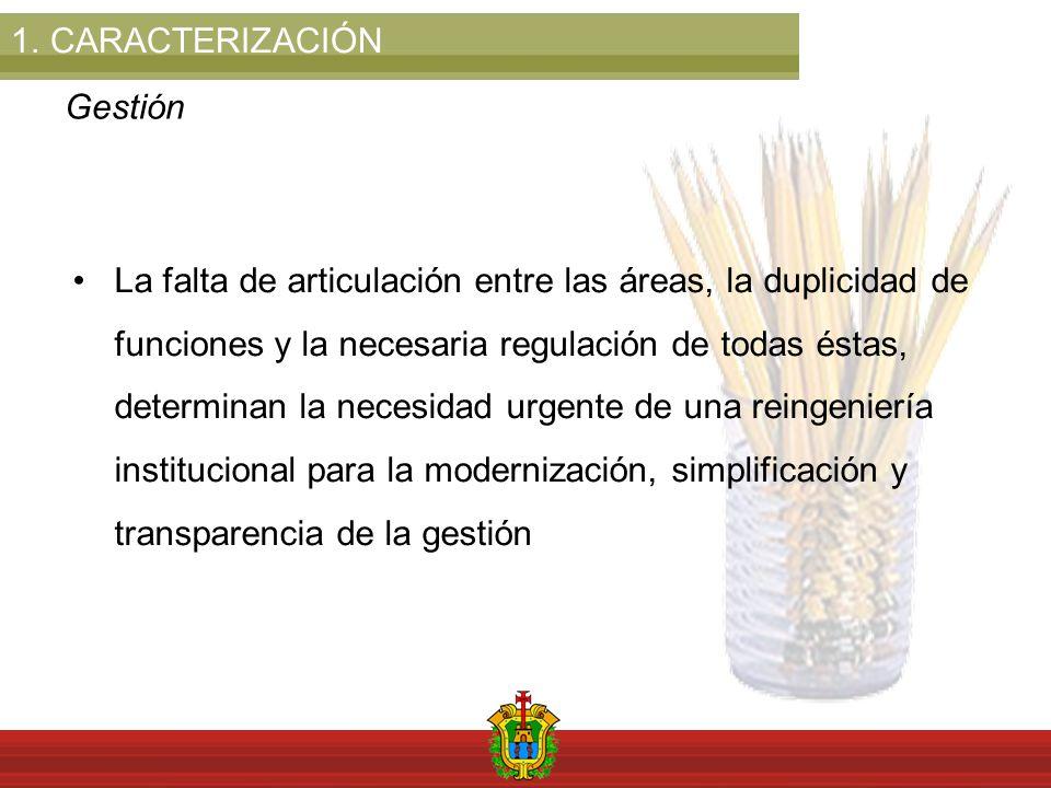 1.CARACTERIZACIÓN Gestión La falta de articulación entre las áreas, la duplicidad de funciones y la necesaria regulación de todas éstas, determinan la necesidad urgente de una reingeniería institucional para la modernización, simplificación y transparencia de la gestión