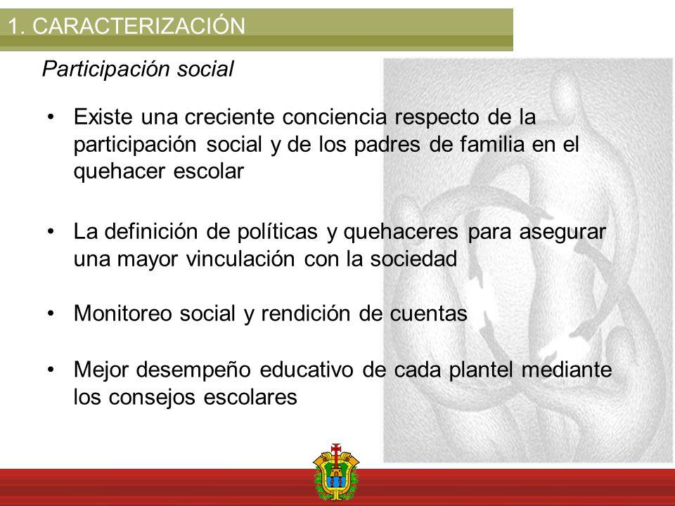1.CARACTERIZACIÓN Participación social Existe una creciente conciencia respecto de la participación social y de los padres de familia en el quehacer e