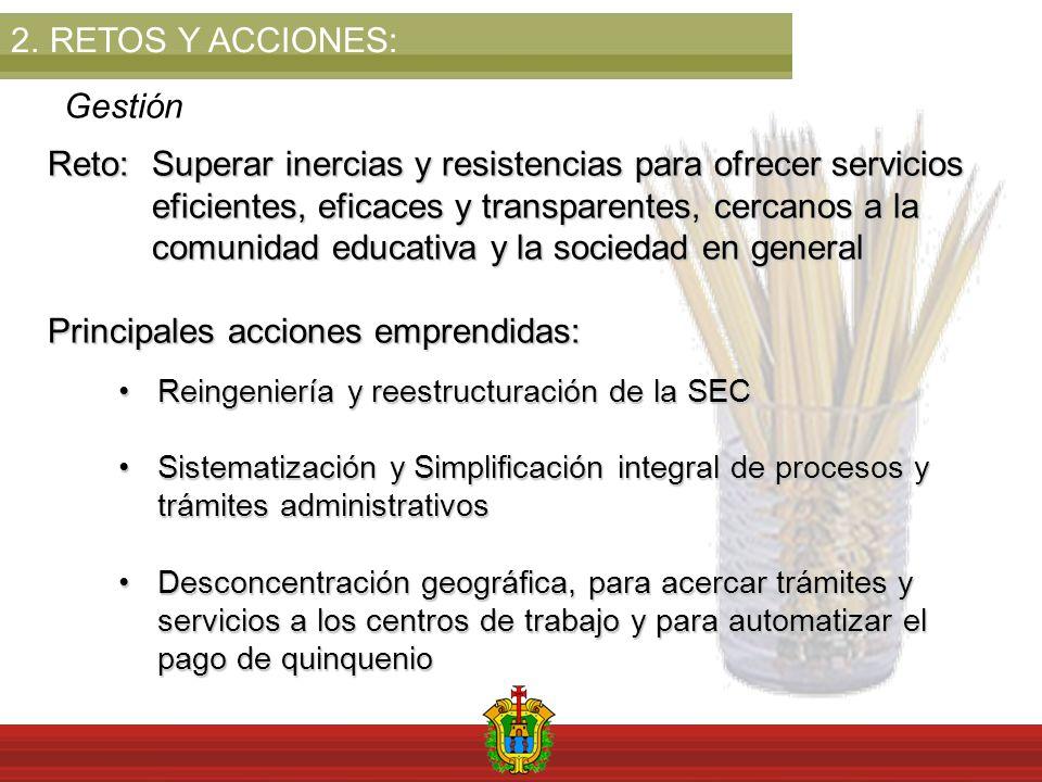 2.RETOS Y ACCIONES: Gestión Reto: Superar inercias y resistencias para ofrecer servicios eficientes, eficaces y transparentes, cercanos a la comunidad