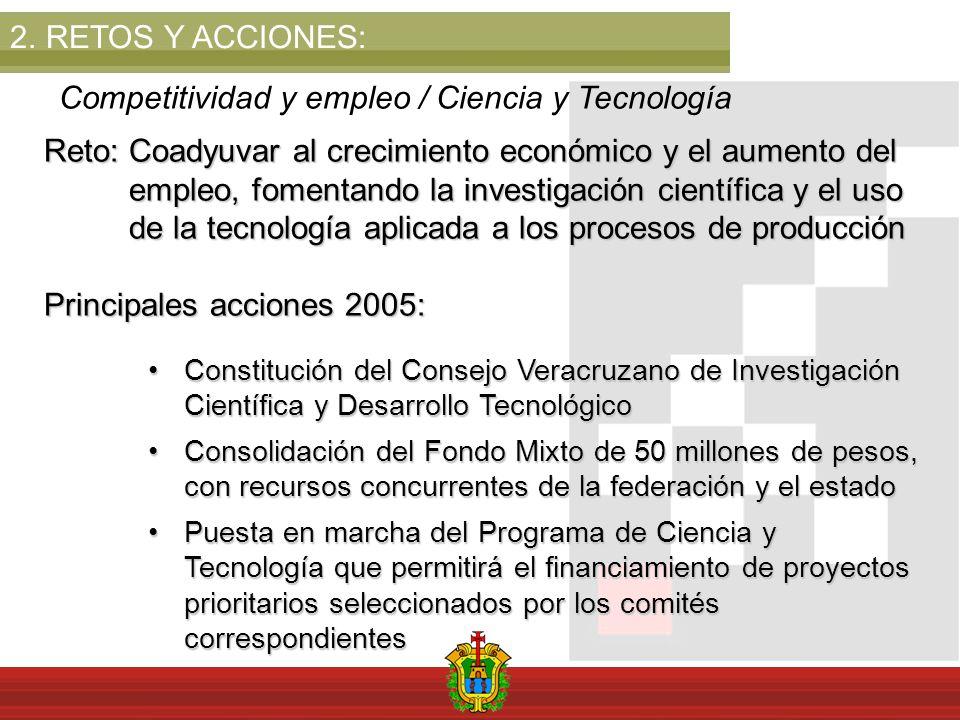 2.RETOS Y ACCIONES: Competitividad y empleo / Ciencia y Tecnología Reto: Coadyuvar al crecimiento económico y el aumento del empleo, fomentando la inv
