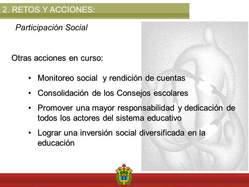 2.RETOS Y ACCIONES: Participación Social Otras acciones en curso: Monitoreo social y rendición de cuentasMonitoreo social y rendición de cuentas Conso