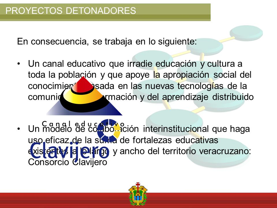 PROYECTOS DETONADORES En consecuencia, se trabaja en lo siguiente: Un canal educativo que irradie educación y cultura a toda la población y que apoye