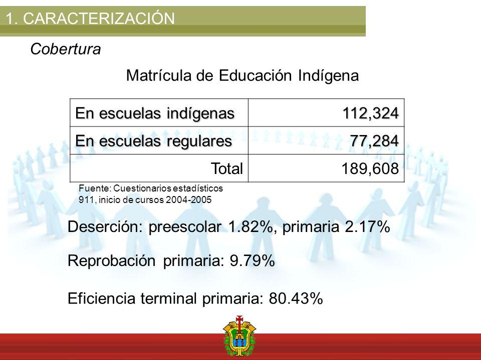 1.CARACTERIZACIÓN Cobertura Matrícula de Educación Indígena En escuelas indígenas 112,324 En escuelas regulares 77,284 Total189,608 Deserción: preescolar 1.82%, primaria 2.17% Reprobación primaria: 9.79% Eficiencia terminal primaria: 80.43% Fuente: Cuestionarios estadísticos 911, inicio de cursos 2004-2005