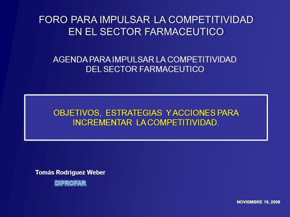 NOVIEMBRE 19, 2008 AGENDA PARA IMPULSAR LA COMPETITIVIDAD DEL SECTOR FARMACEUTICO OBJETIVOS, ESTRATEGIAS Y ACCIONES PARA INCREMENTAR LA COMPETITIVIDAD.