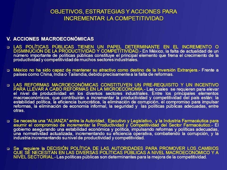 LAS POLÍTICAS PÚBLICAS TIENEN UN PAPEL DETERMINANTE EN EL INCREMENTO O DISMINUCIÓN DE LA PRODUCTIVIDAD Y COMPETITIVIDAD.- En México, la falta de actualidad de un número importante de políticas públicas constituye el principal elemento que frena el crecimiento de la productividad y competitividad de muchos sectores industriales.