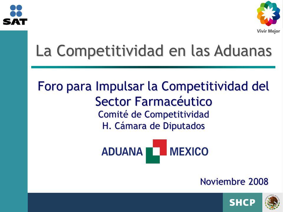 Noviembre 2008 La Competitividad en las Aduanas Foro para Impulsar la Competitividad del Sector Farmacéutico Comité de Competitividad H.