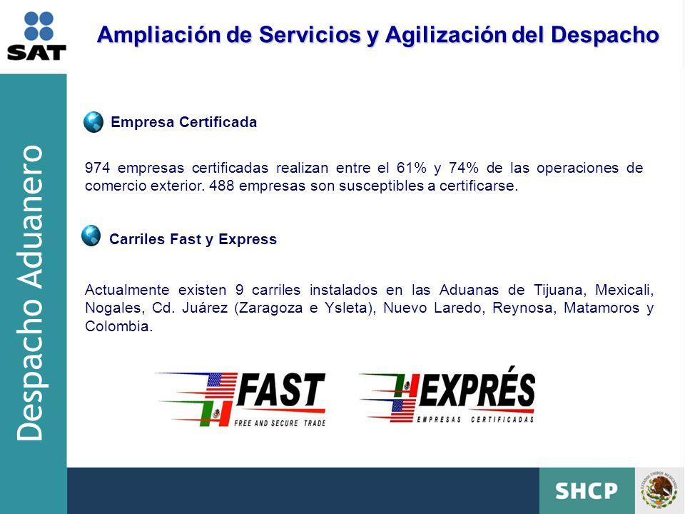 Carriles Fast y Express Actualmente existen 9 carriles instalados en las Aduanas de Tijuana, Mexicali, Nogales, Cd.
