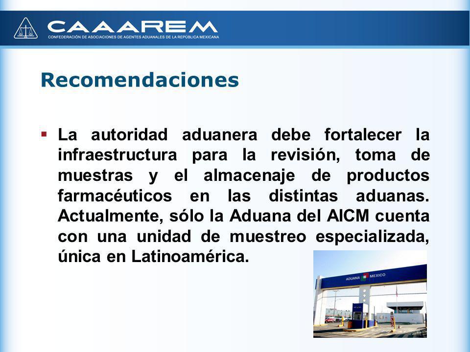 Recomendaciones La autoridad aduanera debe fortalecer la infraestructura para la revisión, toma de muestras y el almacenaje de productos farmacéuticos
