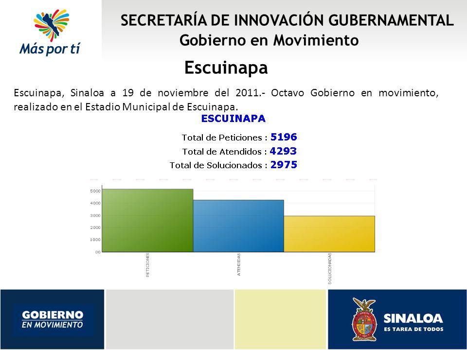 SECRETARÍA DE INNOVACIÓN GUBERNAMENTAL Gobierno en Movimiento Escuinapa Escuinapa, Sinaloa a 19 de noviembre del 2011.- Octavo Gobierno en movimiento, realizado en el Estadio Municipal de Escuinapa.
