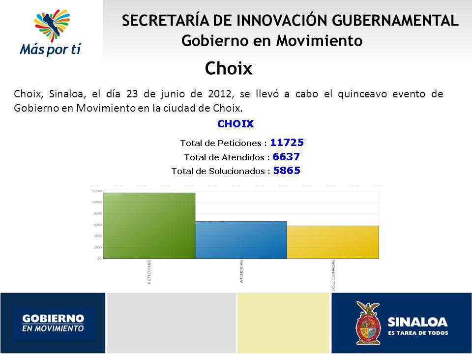 SECRETARÍA DE INNOVACIÓN GUBERNAMENTAL Gobierno en Movimiento Choix Choix, Sinaloa, el día 23 de junio de 2012, se llevó a cabo el quinceavo evento de Gobierno en Movimiento en la ciudad de Choix.