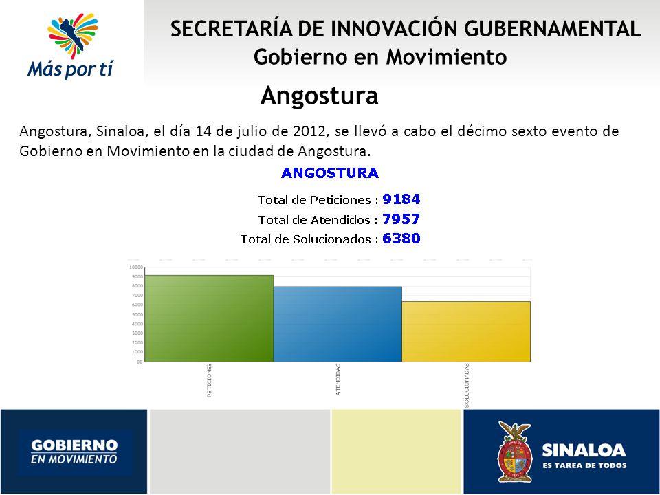 SECRETARÍA DE INNOVACIÓN GUBERNAMENTAL Gobierno en Movimiento Angostura Angostura, Sinaloa, el día 14 de julio de 2012, se llevó a cabo el décimo sexto evento de Gobierno en Movimiento en la ciudad de Angostura.