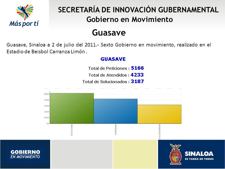 SECRETARÍA DE INNOVACIÓN GUBERNAMENTAL Gobierno en Movimiento Guasave Guasave, Sinaloa a 2 de julio del 2011.- Sexto Gobierno en movimiento, realizado en el Estadio de Beisbol Carranza Limón.