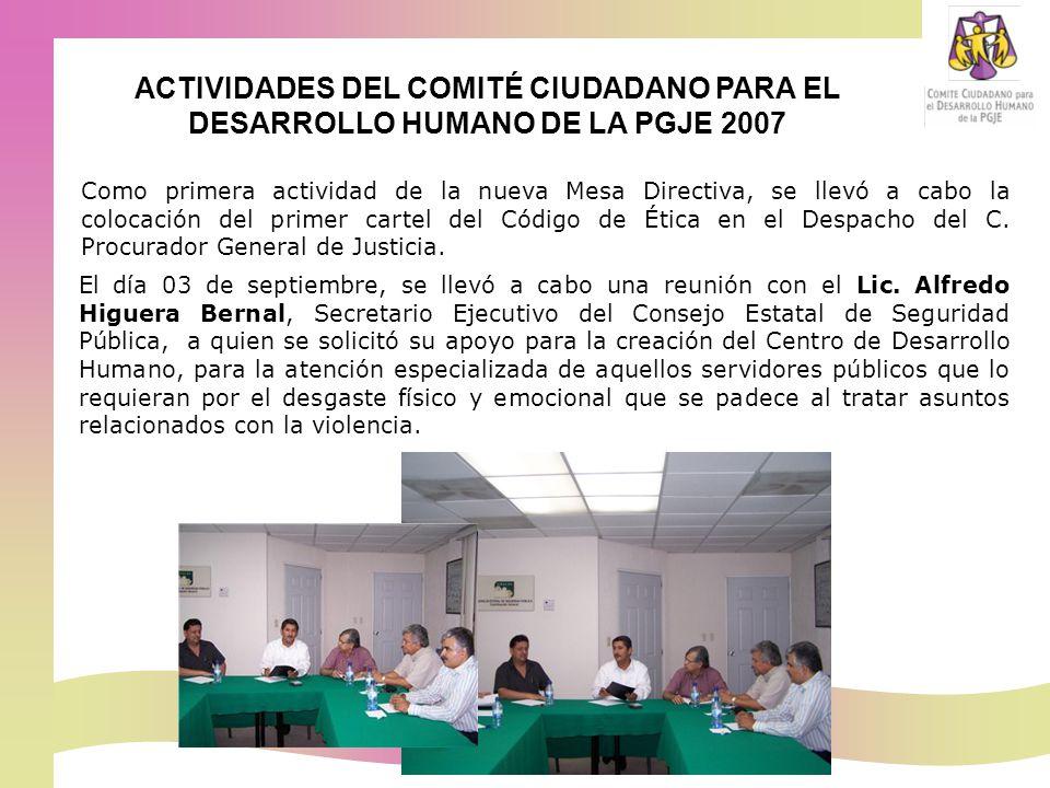 Como primera actividad de la nueva Mesa Directiva, se llevó a cabo la colocación del primer cartel del Código de Ética en el Despacho del C.