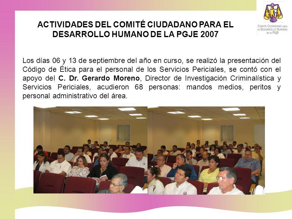 Los días 06 y 13 de septiembre del año en curso, se realizó la presentación del Código de Ética para el personal de los Servicios Periciales, se contó con el apoyo del C.