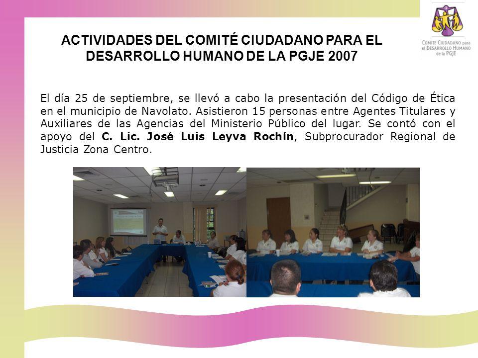 El día 25 de septiembre, se llevó a cabo la presentación del Código de Ética en el municipio de Navolato.
