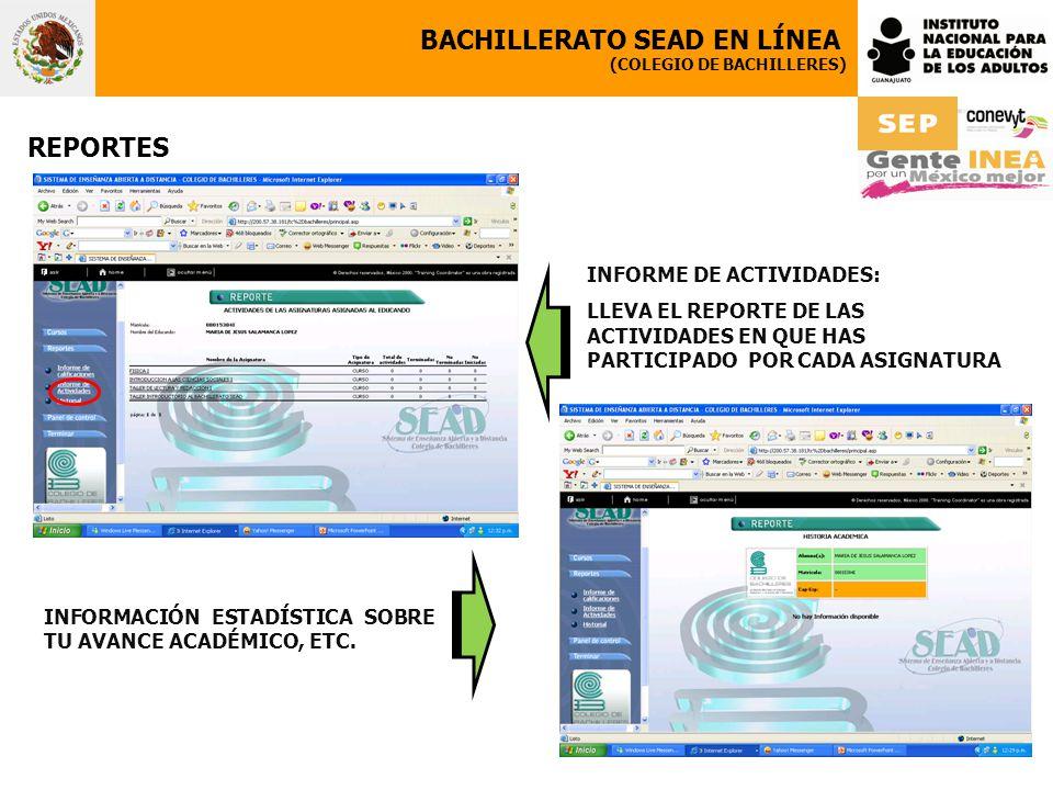 BACHILLERATO SEAD EN LÍNEA (COLEGIO DE BACHILLERES) REPORTES INFORMACIÓN ESTADÍSTICA SOBRE TU AVANCE ACADÉMICO, ETC. INFORME DE ACTIVIDADES: LLEVA EL