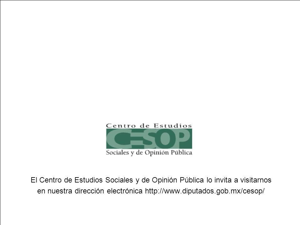 --41-- El Centro de Estudios Sociales y de Opinión Pública lo invita a visitarnos en nuestra dirección electrónica http://www.diputados.gob.mx/cesop/