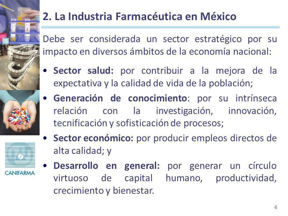 4 2. La Industria Farmacéutica en México Debe ser considerada un sector estratégico por su impacto en diversos ámbitos de la economía nacional: Sector