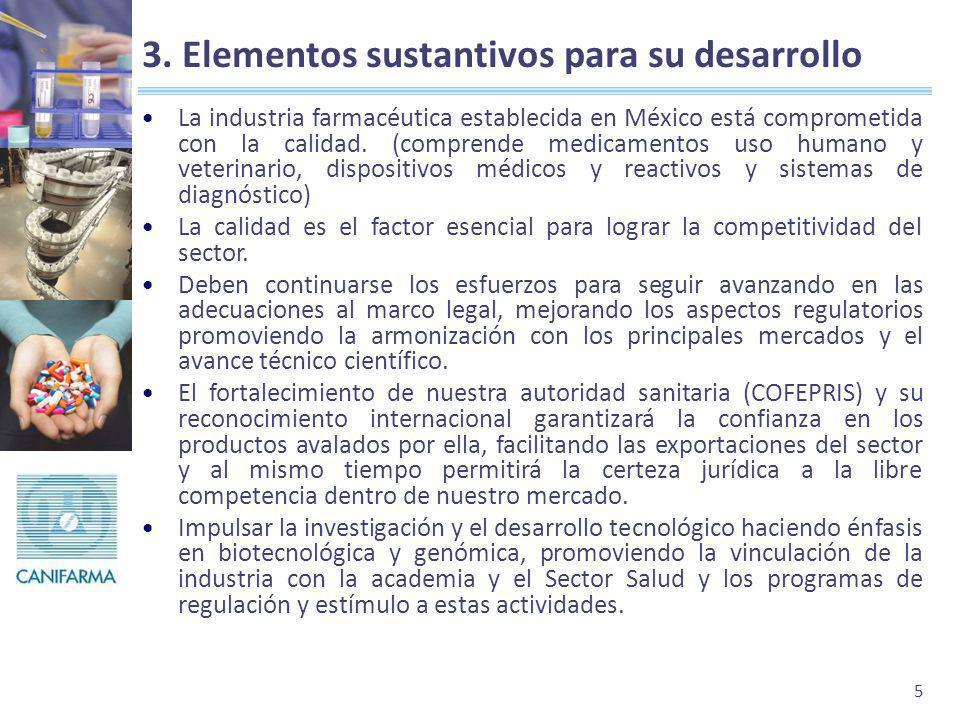 5 3. Elementos sustantivos para su desarrollo La industria farmacéutica establecida en México está comprometida con la calidad. (comprende medicamento