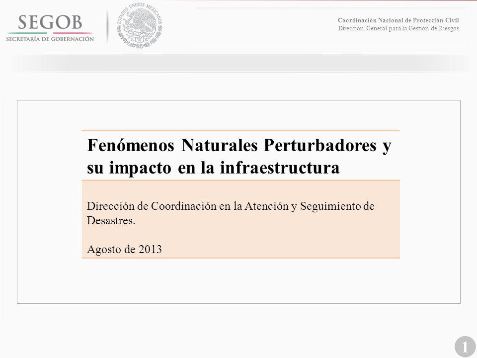 1 Coordinación Nacional de Protección Civil Dirección General para la Gestión de Riesgos Fenómenos Naturales Perturbadores y su impacto en la infraest