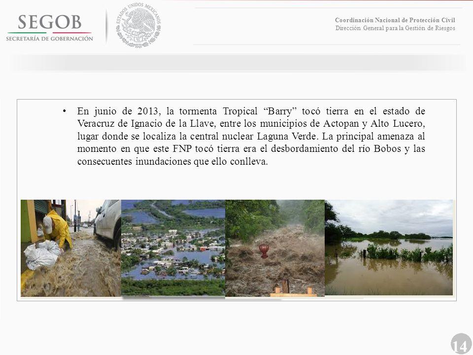 14 Coordinación Nacional de Protección Civil Dirección General para la Gestión de Riesgos En junio de 2013, la tormenta Tropical Barry tocó tierra en