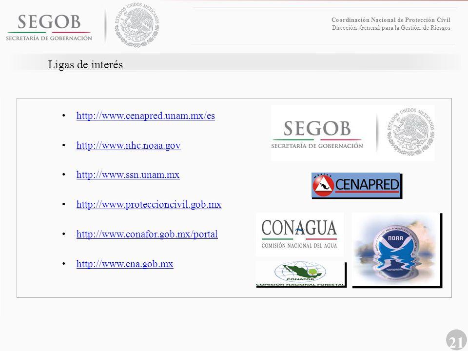 21 Coordinación Nacional de Protección Civil Dirección General para la Gestión de Riesgos Ligas de interés http://www.cenapred.unam.mx/es http://www.n
