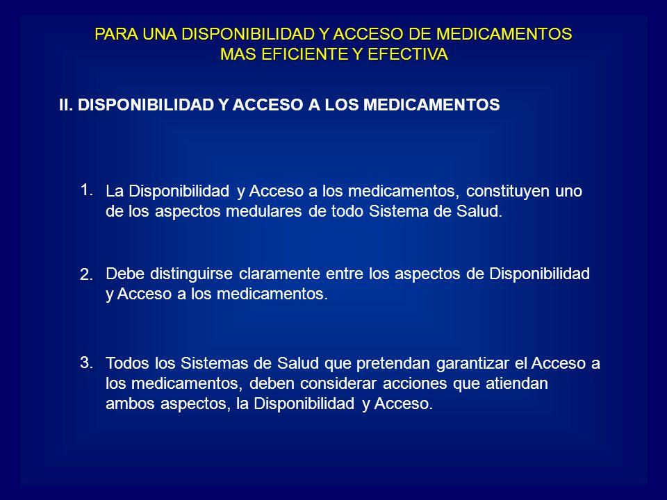 II. DISPONIBILIDAD Y ACCESO A LOS MEDICAMENTOS La Disponibilidad y Acceso a los medicamentos, constituyen uno de los aspectos medulares de todo Sistem