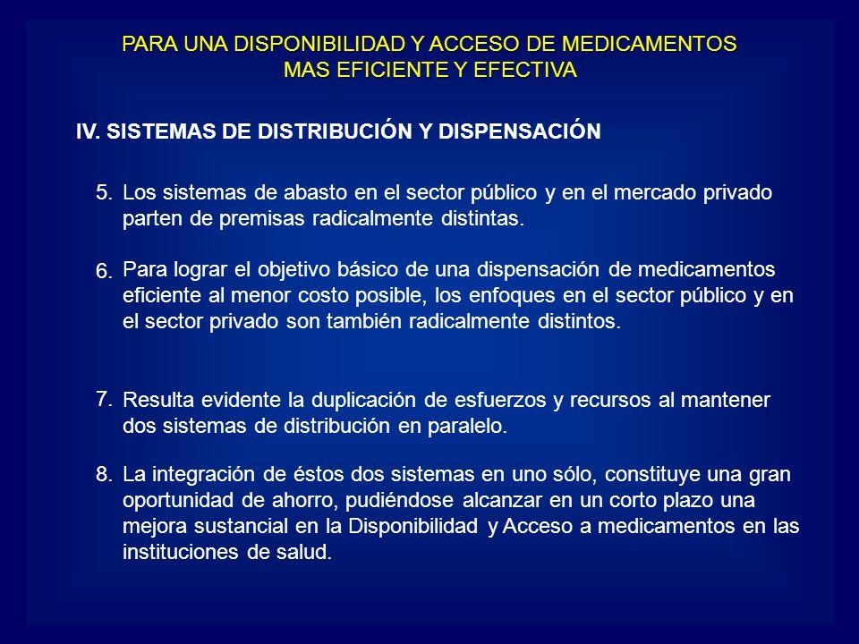 IV. SISTEMAS DE DISTRIBUCIÓN Y DISPENSACIÓN Los sistemas de abasto en el sector público y en el mercado privado parten de premisas radicalmente distin