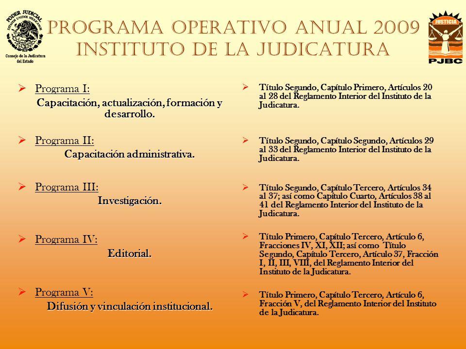PROGRAMA OPERATIVO ANUAL 2009 instituto de la judicatura Programa I: Capacitación, actualización, formación y desarrollo.