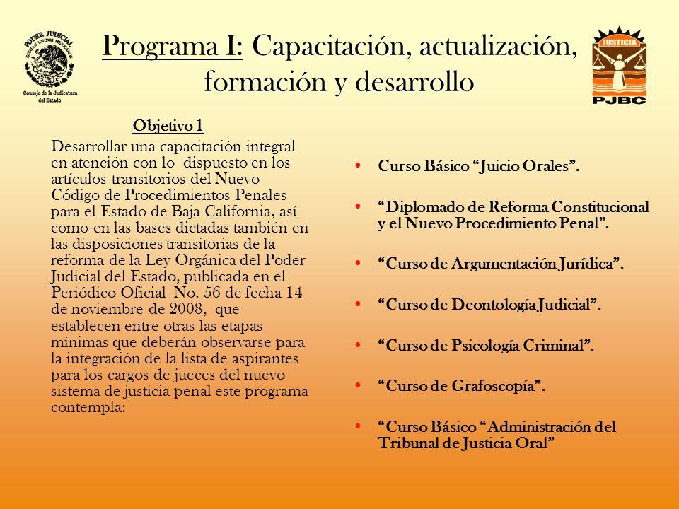 PODER JUDICIAL DEL ESTADO DE BAJA CALIFORNIA CONSEJO DE LA JUDICATURA DEL PODER JUDICIAL DEL ESTADO DE BAJA CALIFORNIA INSTITUTO DE LA JUDICATURA DEL ESTADO DE BAJA CALIFORNIA PROGRAMA OPERATIVO ANUAL 2009 RELACION DE ACTIVIDADES PROGRAMADAS PARA EL EJERCICIO 2009