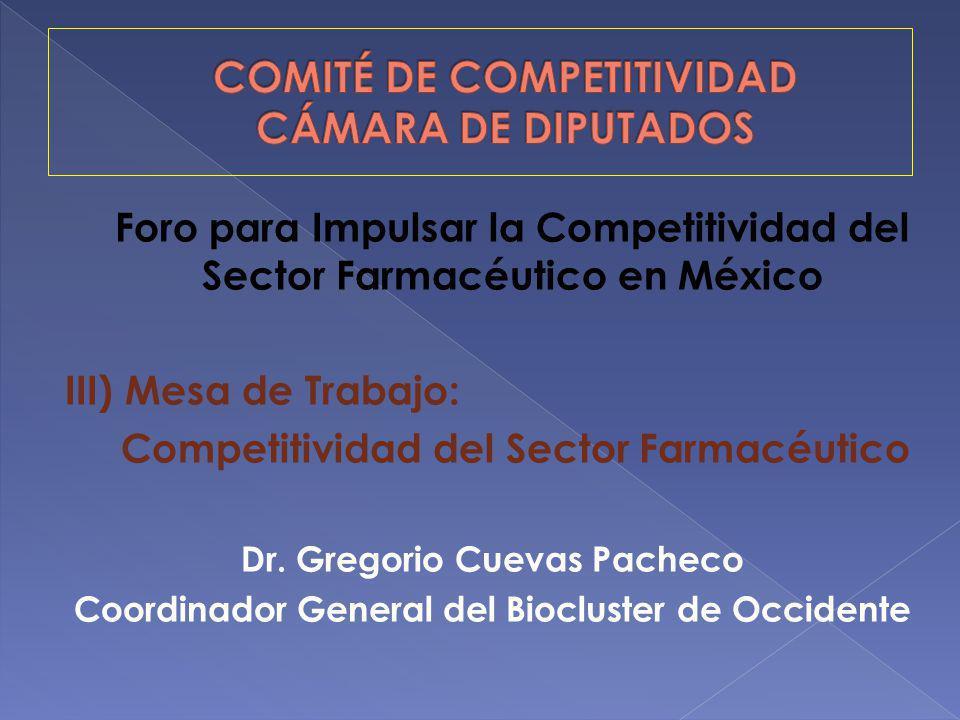 Foro para Impulsar la Competitividad del Sector Farmacéutico en México III) Mesa de Trabajo: Competitividad del Sector Farmacéutico Dr. Gregorio Cueva