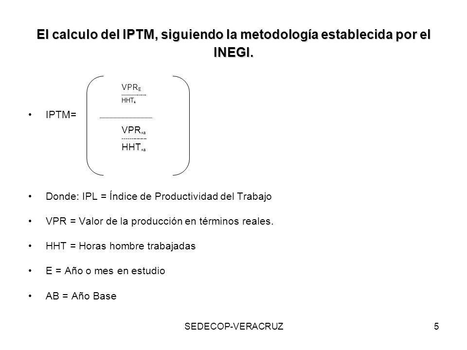 SEDECOP-VERACRUZ5 El calculo del IPTM, siguiendo la metodología establecida por el INEGI. VPR E ------------------ HHT E IPTM= -----------------------