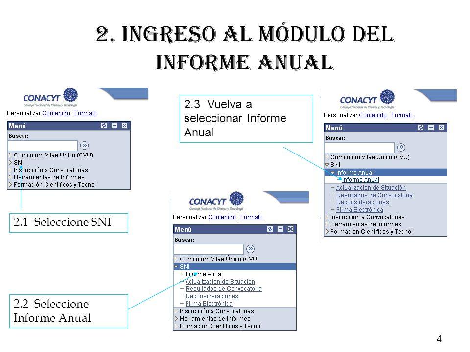 4 2.1 Seleccione SNI 2.2 Seleccione Informe Anual 2.