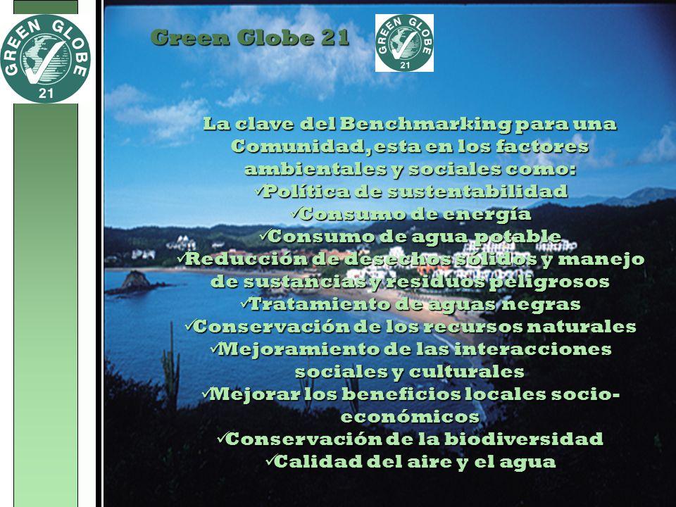 Green Globe 21 La clave del Benchmarking para una Comunidad, esta en los factores ambientales y sociales como: Política de sustentabilidad Política de