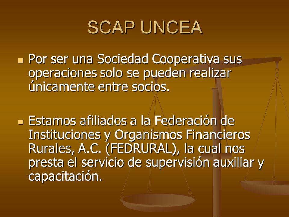 SCAP UNCEA Por ser una Sociedad Cooperativa sus operaciones solo se pueden realizar únicamente entre socios. Por ser una Sociedad Cooperativa sus oper