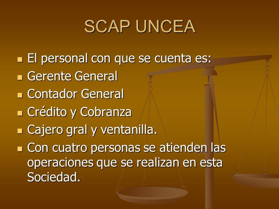 SCAP UNCEA El personal con que se cuenta es: El personal con que se cuenta es: Gerente General Gerente General Contador General Contador General Crédito y Cobranza Crédito y Cobranza Cajero gral y ventanilla.