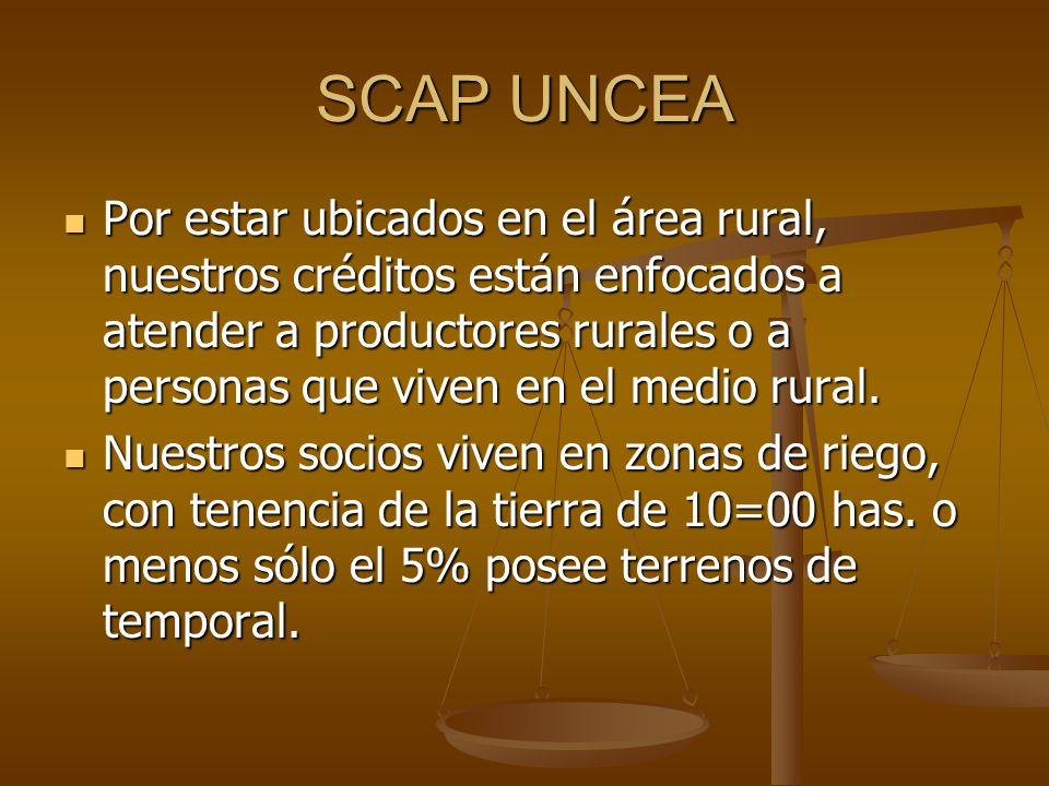 SCAP UNCEA Por estar ubicados en el área rural, nuestros créditos están enfocados a atender a productores rurales o a personas que viven en el medio r
