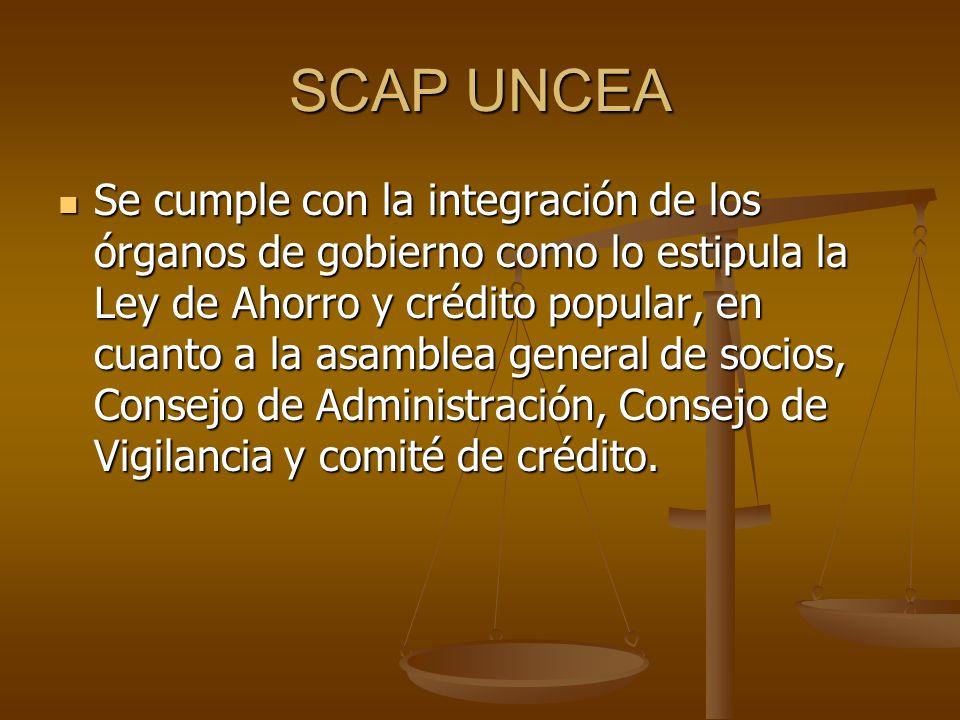 SCAP UNCEA Se cumple con la integración de los órganos de gobierno como lo estipula la Ley de Ahorro y crédito popular, en cuanto a la asamblea genera